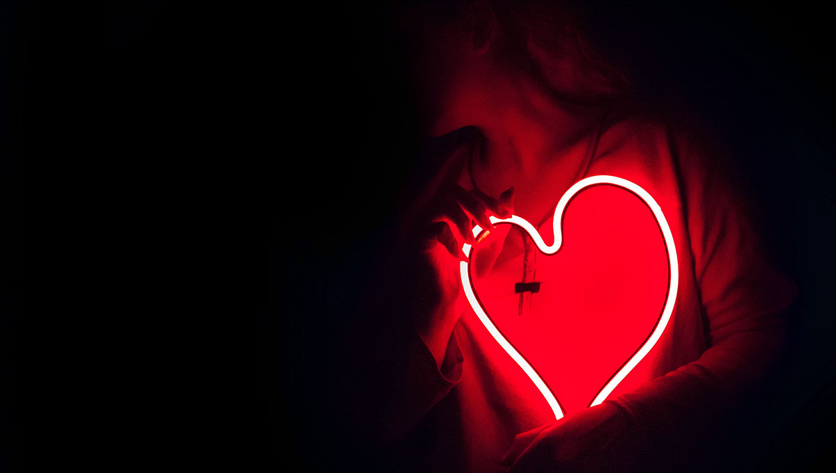 Neon heart light at night
