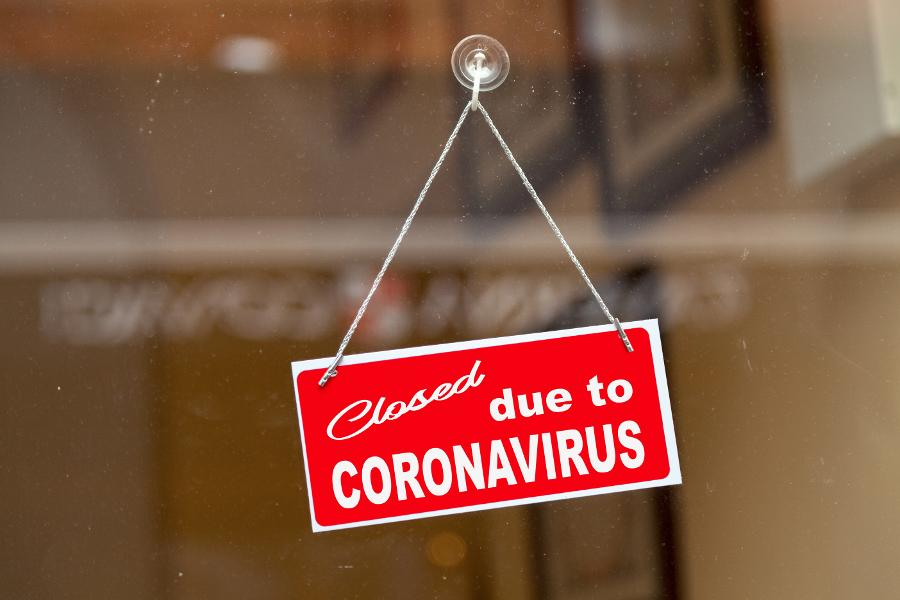 sign of closed due to coronavirus