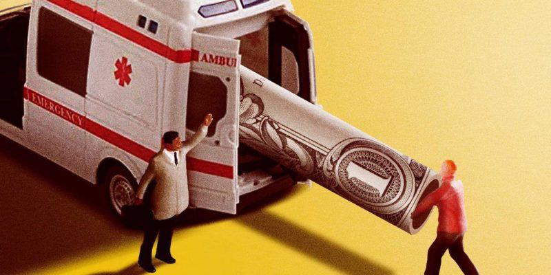 toy men putting dollar into ambulance